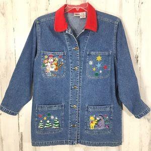 Disney Vintage Pooh Denim Long Jacket Size M